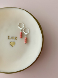 Earrings small - Pink stones - silver/gold plated