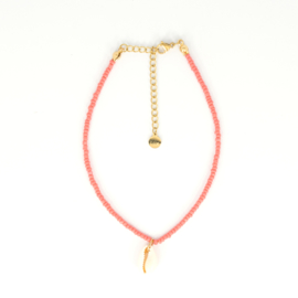 Mini Beads Anklet - Shell - coral