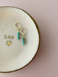 Earrings small - Turquoise stones - silver/gold plated