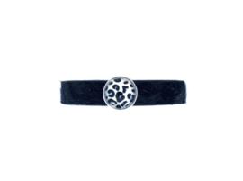 Leopard Leather Bracelet - Black hairy