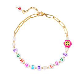Anklet - Summer Love - RVS gold