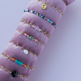 Gemstones Bracelet - Agaat multicolour - RVS silver