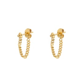 Ear studs - Ball and Chain - gold plated