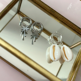 EARRINGS   SHELL   SILVER PLATED