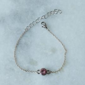 Crystal Bracelet - Pink - Silver plated