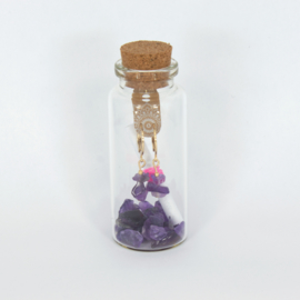Jewelry in a Bottle - Earrings Amethist - gold plated