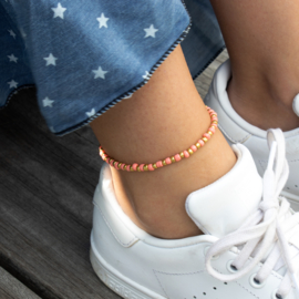 Beads Anklet - peach/gold