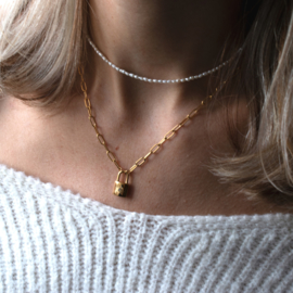 Ketting - Mini Pearl - RVS gold