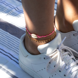 Shell Anklet - Neon Pink