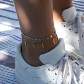 RVS Anklet - mini Coin - silver