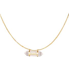 OFF WHITE STONE NECKLACE | RVS GOLD