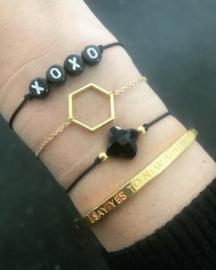 Clover Armband - gold beads