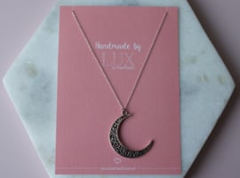 Long Necklace - Moon - silver plated