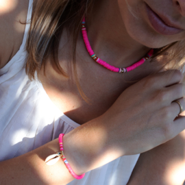 Surf Necklace - Beads - pink