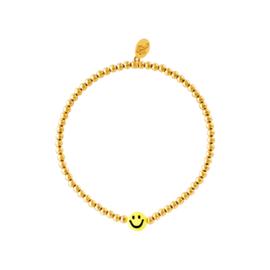 BRACELET   BEADS SMILEY   RVS GOLD