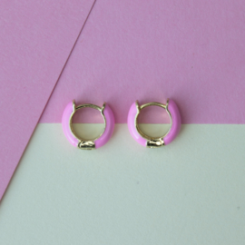 EARRINGS   PINK   GOLD PLATED