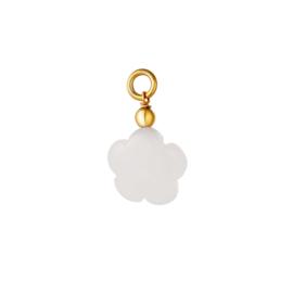 CHARM FLOWER STONE | WHITE | RVS GOLD