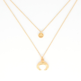 Necklace Set - Coin + Horn - gold plated