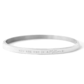 Quote Bangle - You are one in a million - RVS silver