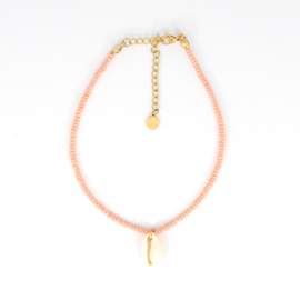 Mini Beads Anklet - Shell - peach