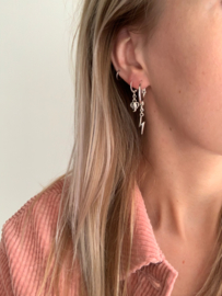 Earrings medium - set Lightning - silver/ gold plated