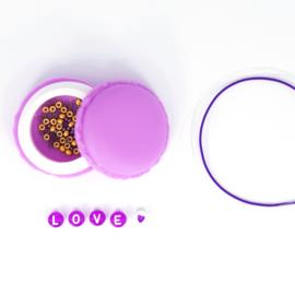 DIY - Set 5 Quote - Letter Armbandjes - Purple