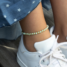 Beads Anklet - mint/gold