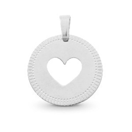 Necklace - Heart - RVS silver