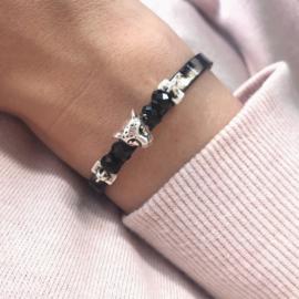 Leopard Leather Bracelet - Leopard charm