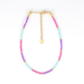 Mini Beads Anklet - pink/purple/mint
