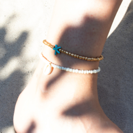 Beads Anklet - Shell - pearl