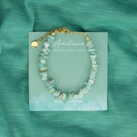 Armband - chip stones Aventurine - RVS silver