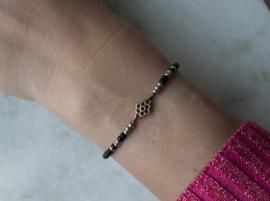 Beads Bracelet elastic - Black/silver