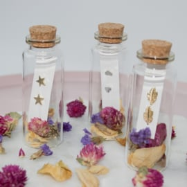 Jewelry in a Bottle Flower - Earstuds -  gold plated