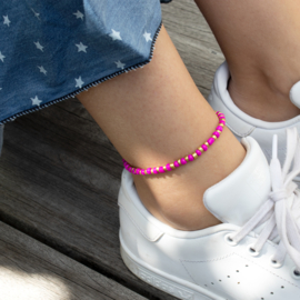 Beads Anklet - pink/gold