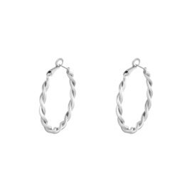 Oorringen Twisted - silver plated