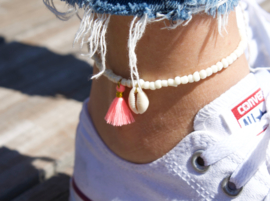 Beads Anklet - Pearl with Tassel/ Shell