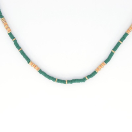 Necklace - Rubber Beads - Green 2