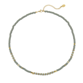 Necklace - Rubber Beads - Grey 1
