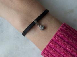 Leather Bracelet - Black/crystal - Silver plated