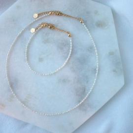 Set - Ketting&Armband - Mini Pearl - RVS silver/gold