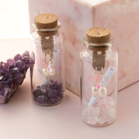 Jewelry in a Bottle - earrings Pearl - silver plated