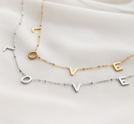 Necklace - LOVE - RVS silver/ gold