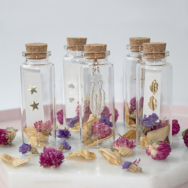 Jewelry in a Bottle Flower - Earstuds -  silver plated