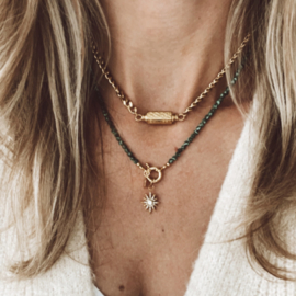 GREEN STONES | NECKLACE | GOLD PLATED