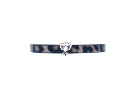 Leopard Leather Bracelet - Elephant charm