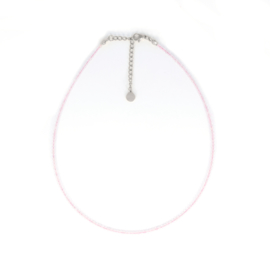 Ketting - Rose Quartz - RVS silver