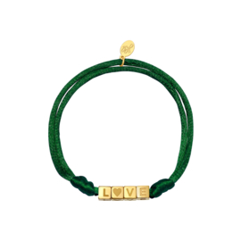 Armband - LOVE Green - RVS gold