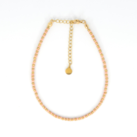 Mini Beads Anklet - gold/peach