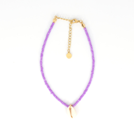 Mini Beads Anklet - Shell - purple